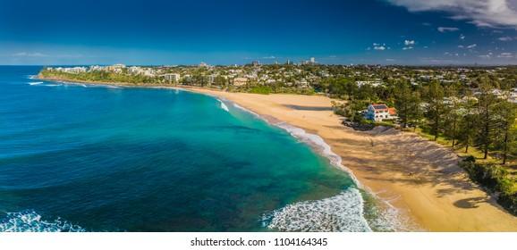 Aerial panoramic images of Dicky Beach, Caloundra, Queensland, Australia
