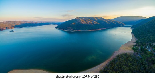 Aerial panoramic landscape of scenic Lake Burrinjuck at sunset. New South Wales, Victoria, Australia