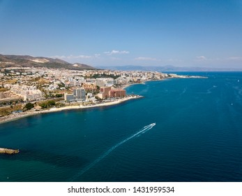 Aerial Panoramic Landscape View of Benalmadena City , Malaga , South of Spain. Popular touristic holiday attraction in Costa del Sol