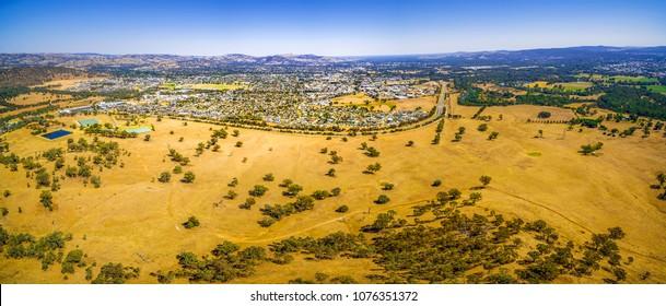 Aerial panoramic landscape of Wodonga - town in Victoria, Australia