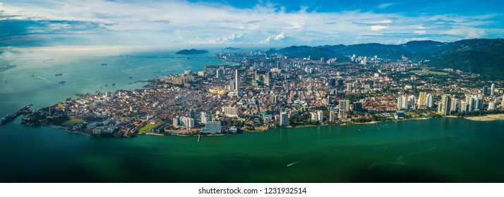Aerial panoramic morning view of Georgetown City, Penang, MALAYSIA.