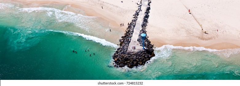 Aerial panoramic photo of the breakwall at City Beach, Perth, Western Australia.