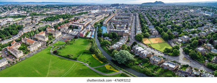 Aerial panoramic photograph of Edinburgh's Harrison Park and the Union Canal, Polwarth & Fountain Bridge. Scotland, UK