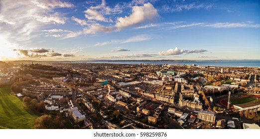 Aerial panoramic photograph of the North West Edinburgh's. Holyrood Park, Scotland, UK