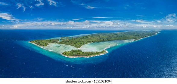 Aerial Panoramic shot of Peleliu island, Palau