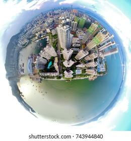 Aerial panoramic shot of Shekou, Shenzhen, China