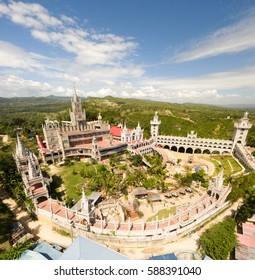 A aerial panoramic shot of the Simala-Lindogon Church Shrine in Sibonga, Cebu, Philippines.