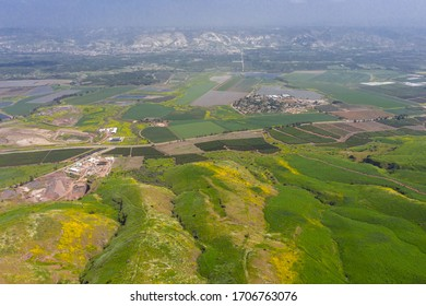Aerial panoramic spring view of Jordan valley and Lower Galilee from Belvoir Fortress (Kokhav HaYarden National Park), a Crusader fortress in North Israel