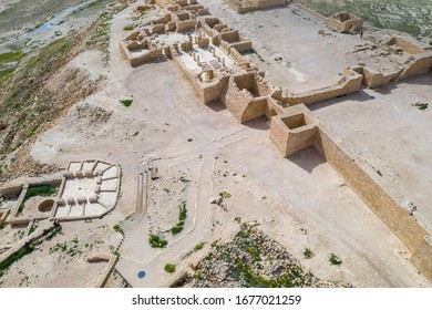 Aerial panoramic spring view of the ruined Ancient Nabataean city of Avdat, now a national Park, in the Israel's Negev Desert, Southern Israel.