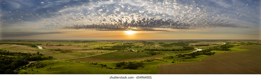 Aerial panoramic of a sunset and skyscape in the Midwest. South Dakota