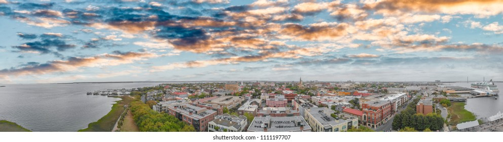 Aerial panoramic sunset view of Charleston, South Carolina.