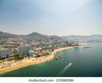 Aerial panoramic view of the Acapulco Bay in Mexico during the sunset