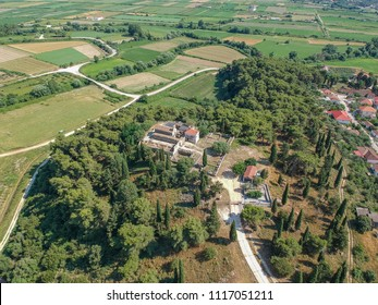 Aerial panoramic view of the archaeological site of Necromanteion, an ancient temple dedicated to the god of the Underworld, Hades, and his consort, the goddess Persephone. Preveza, Greece, Europe.