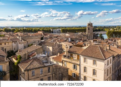 Aerial panoramic view of Arles, France in a beautiful summer day