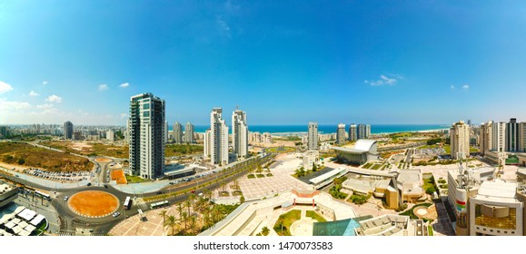 Aerial panoramic view of Ashdod city, Israel at August-02 2019.