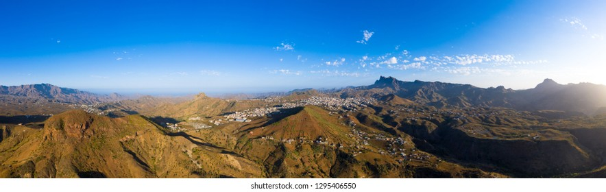 Aerial Panoramic view of Assomada in Santiago island in Cape Verde - Cabo Verde