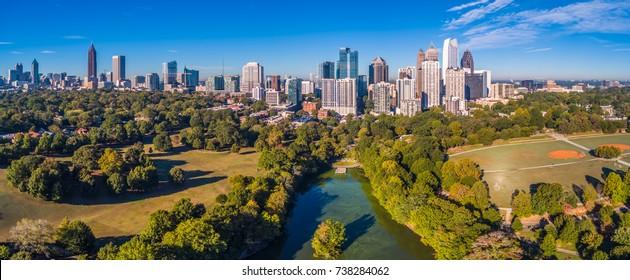 Aerial Panoramic View of Atlanta, GA