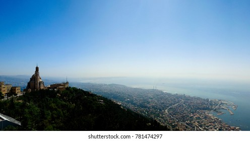 Aerial panoramic view to Basilica of Saint Paul near Harissa mount at Lebanon and Jounieh city and bay, Lebanon