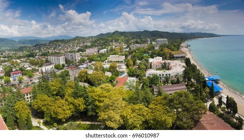 Aerial panoramic view to the beach at resort town Sukhum downtown