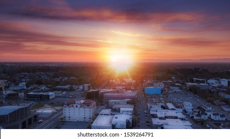 Aerial panoramic view of Beautiful golden sunset over Christchurch Town in New Zealand.
