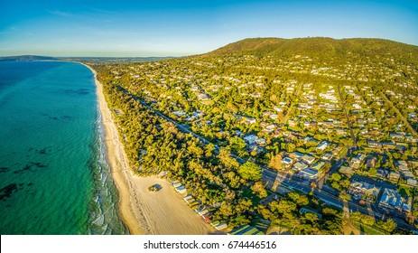 Aerial panoramic view of beautiful Mornington Peninsula coastline near Rosebud and Arthurs Seat. Melbourne, Australia