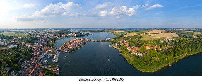 Aerial panoramic view of the beautiful town of Malchow in the Mecklenburg Lake District, Germany.