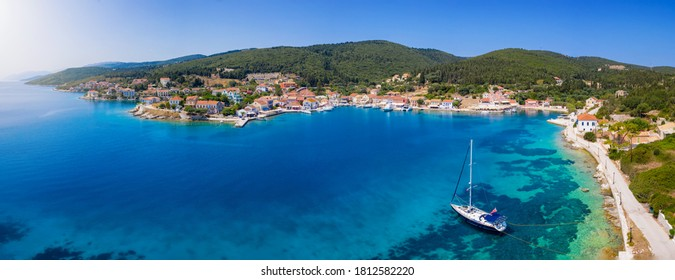 Aerial, panoramic view to the beautiful town of Fiscardo, Kefalonia island, Greece, marina and hub for many sailors and travelers