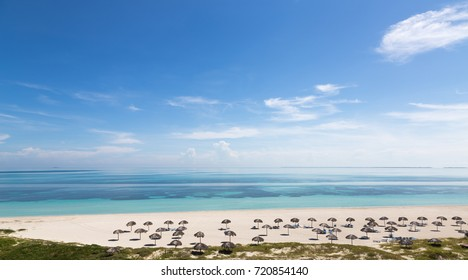 Aerial panoramic view of the beautiful tropical beach of Varadero, Cuba