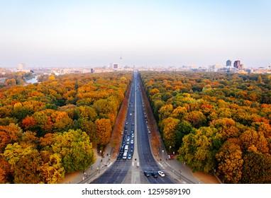 Aerial panoramic view of Berlin Tiergarten and skyline in autumn