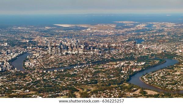 Aerial panoramic view of Brisbane CBD, Australia