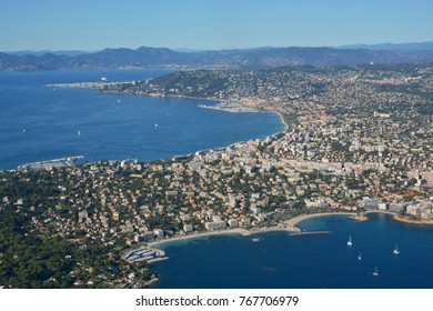 Aerial panoramic view of Cannes city, Marina and Mediterranean Coast, Rivierra, Provence, France