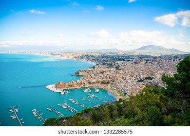 Aerial panoramic view of Castellammare del Golfo town in Trapani, Sicily, Italy
