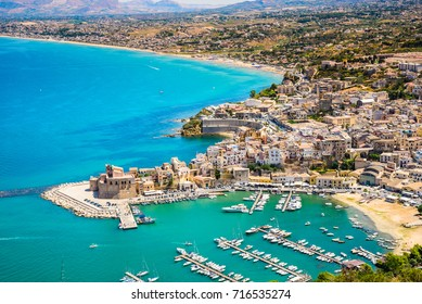 Aerial panoramic view of Castellammare del Golfo town, Trapani, Sicily.
