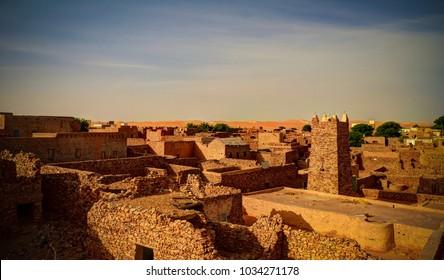 Aerial panoramic view to Chinguetti mosque, symbols of Mauritania