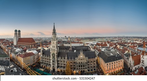 Aerial panoramic view of the Christmas market on the Mary's square (Marienplatz) in front of the new town hall (Rathaus), Munich, Germany