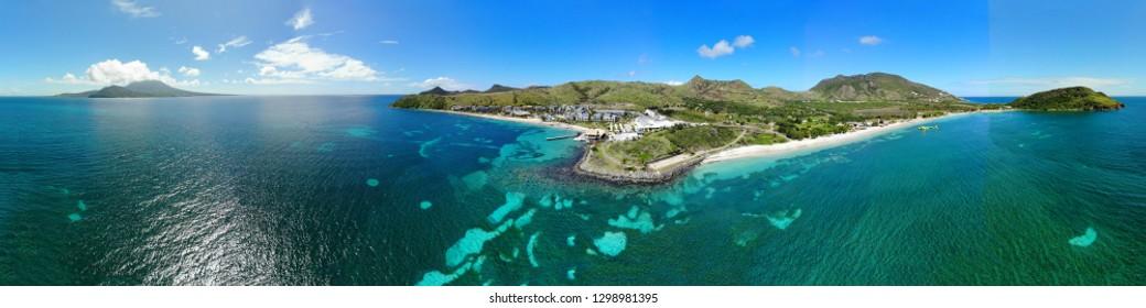 Aerial panoramic view of Christopher Harbor and the Caribbean Sea, Saint Kitts, near the Park Hyatt hotel and Reggae Beach