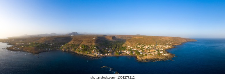 Aerial panoramic view Cidade Velha city  in Santiago - Cape Verde - Cabo Verde