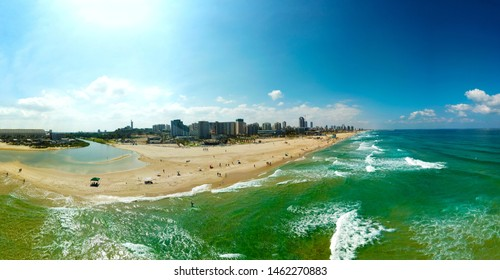 Aerial panoramic view of the coastal strip Mei Ami Beach, Ashdod, Israel at July 2019.