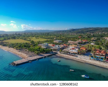 Aerial panoramic view of the coastal village Gialova in Messenia. Gialova is a village on Navarino Bay in the municipality of Pylos and has become a popular Greek tourist destination during Summer.
