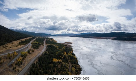 Aerial panoramic view of Copper Mine Tailing pond in the interior British Columbia, Canada.