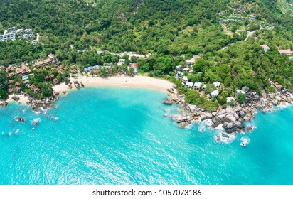 Aerial panoramic view of Coral Cove beach, Koh Samui Island, Thailand