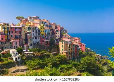 Aerial panoramic view of Corniglia fishing village in Five lands, Cinque Terre National Park, Liguria, Italy.