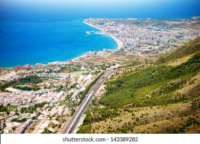 Aerial Panoramic View of Costa del Sol, Benalmadena, Malaga, Spain