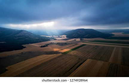 aerial panoramic view of Dobrogea fields in summer, Romania
