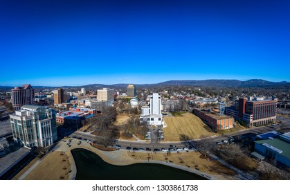 Aerial panoramic view of downtown Huntsville, Al from Big Spring Park.  Looking west to east.