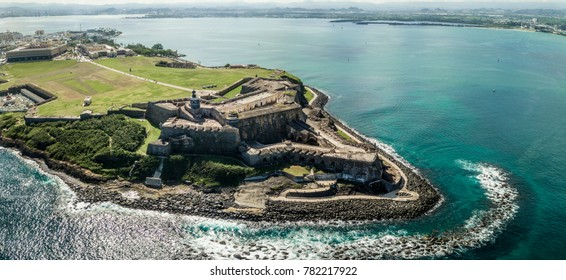 Aerial panoramic view of El Morro in San Juan, Puerto Rico.