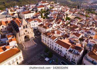Aerial panoramic view of Elvas sity with main square and cathedral, Portugal