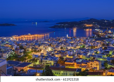 Aerial panoramic view of Ermoupoli city in Syros Island. It is the capital of the island and of the Cyclades. It has always been a significant port town, and during the 19th century. Cyclades - Greece