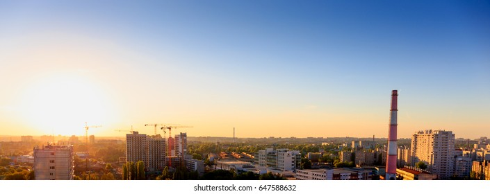 Aerial panoramic view of evening sunset cityscape, Russia, Voronezh, industrial area