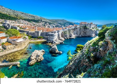 Aerial panoramic view at famous european travel destination, Dubrovnik cityscape on Adriatic Coast, Croatia. / Selective focus.